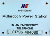 Mullardoch Power Station sign