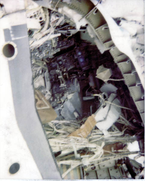 Roger Windley's scrapyard in Lincolnshre: the cockpit section of PanAm 103, blown up over Lockerbie - instruments and throttle quadrants visible