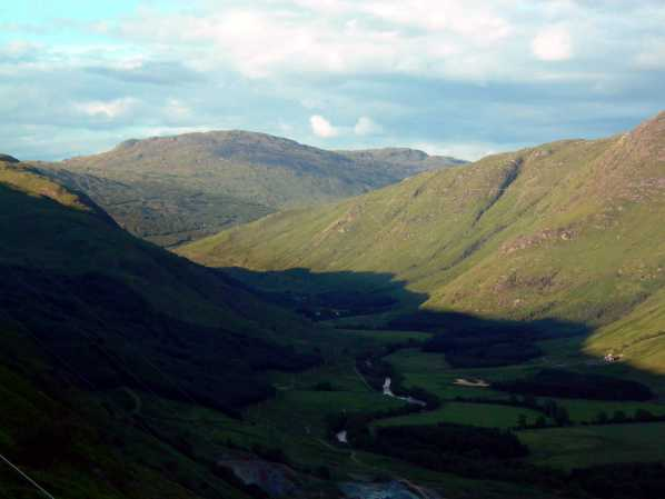 Clachan inclined railway - view from top, looking up Glen Fyne